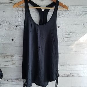 Wilfred black tank with tassles